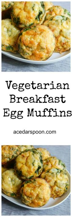 Vegetarian Breakfast Egg Muffins are a kid-friendly, easy to make breakfast or lunch muffin. With eggs, vegetables, cheese, spinach and spices you will have a nutritions, flavor-packed meal. // A Cedar Spoon