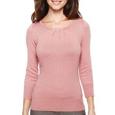 Worthington® Essential Pleated Crew-Neck Sweater - jcpenney