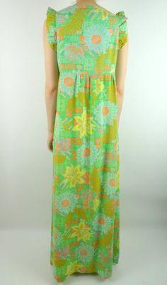 VINTAGE HAWAIIAN DRESS 1960s Green Floral Maxi Liberty House | Etsy Liberty House, Vintage Hawaiian, Retro Dress, Floral Maxi, Green And Orange, Vintage Tops, Ankara, 1960s, Cotton Fabric