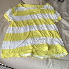 American Eagle yellow and white top American Eagle yellow and white top. Perfect for wearing over bathing suit at the beach :). Great condition. American Eagle Outfitters Tops