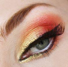 mockingjay or phoenix costume makeup Mermaid Eye Makeup, Mermaid Eyes, Gold Makeup, Kiss Makeup, Hair Makeup, Dance Makeup, Arab Makeup, Yellow Makeup, Glamorous Makeup