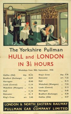 This The Yorkshire Pullman - Hull and London Art Print Art Print is created using state of the art, industry leading Digital printers. The Yorkshire Pullman - Hull and London Train Posters, Railway Posters, Pullman Car, Kingston Upon Hull, British Travel, National Railway Museum, Trains, Train Travel, Travel Ads