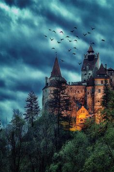 Creepy night at Dracula& mansion & Bran Castle, Transylvania, Romania. Photo by Would you like to spend a night in this place? & The post Creepy night at Dracula& mansion Bran appeared first on . Castle In The Sky, Dark Castle, Castle Rock, Chateau Medieval, Medieval Castle, Beautiful Castles, Beautiful Places, Places To Travel, Places To Visit