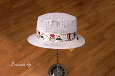 White summer hat with painted by hand ribbon, variation Summer Hats, Ribbon, Tape, Band, Bows