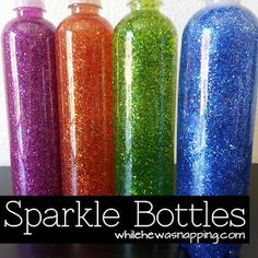 These cute Sparkle bottle will be great. Kennedy loves to shake things and we both love sparkle.