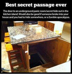Secret passage hidden inside kitchen island. Hate to give up all that kitchen storage but still...fun idea.