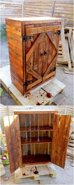 This is another innovative project design of the wood pallet cabinet piece for … - Pallet Furniture Ideas Wood Projects That Sell, Easy Wood Projects, Diy Pallet Projects, Woodworking Projects Diy, Woodworking Furniture, Pallet Ideas, Woodworking Classes, Woodworking Jointer, Woodworking Organization