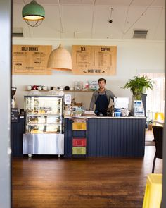 cafe interior navy floor boards eclectic coffee shop seaside beach - Slate Cafe Decoration