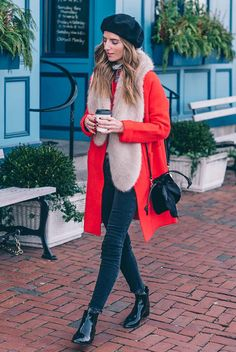 Black beret hat, red coat, stripe turtleneck top, black skinny jeans, black pointed booties, beige faux fur scarf, black mini bucket bag - Red coat, winter outfits, statement outfits, red coat outfits, winter fashion, winter fashion 2017, winter fashion trends 2017, fashion trends 2017, street style, casual outfits, comfy outfits, travel outfits, trendy outfits, holiday outfits.