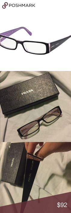 """PRADA PR 10FV Classy beautiful and pink authentic PRADA frames with prescription lenses , minor scratches on the rims of the glasses 👓 gently used fairly noticeable,pink coating on the inside and black on outside perfect for any RX , very well taken care of the price listed is final. """"No low ball offers please """" Prada Accessories Glasses"""