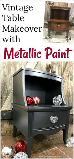 How to Paint Glamorous Furniture with Metallic Paint. Vintage table painted furniture makeover using silver metallic furniture paint.