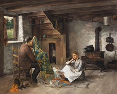 Paul E. Harney  American (1850-1915) Interior, 1890, oil on canvas, signed and dated left center margin, framed. #american #art #stlouis   www.linkauctiongalleries.com American Art, St Louis, Oil On Canvas, Auction, Detail, Gallery, Painting, Interior, Fabrics