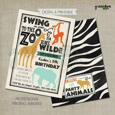 Zoo invitation, safari birthday party card, animal party, jungle birthday, petting zoo, zoo birthday invite, custom, printable, digital