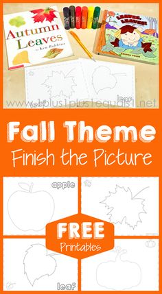 Fall Theme Finish the Picture Printables ~ Trace and Draw a pumpkin, apple and two different leaves!