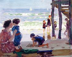 womeninarthistory: Changing for a Swim, Rockaway Pier, Edward Potthast