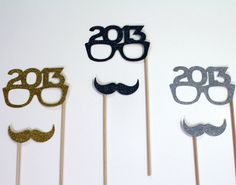 Perfect Holiday Photo Props - Set of 6 - Gold, Silver and Black Glitter Mustaches and 2013 Glasses - New Years Props - Photo Booth Props on Etsy, $16.00