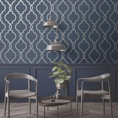 Laticia Geometric Trellis Wallpaper Navy Blue and Silver Feature Wall Holden Decor 65493 Silver Living Room, Silver Room, Blue Living Room Decor, Navy Blue Living Room, Blue Feature Wall Living Room, Feature Walls, Blue Grey Wallpaper, Feature Wallpaper, Navy Kitchen Wallpaper