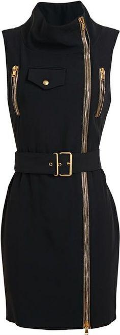 Alexander McQueen Belted Zip Detail Crepe Dress