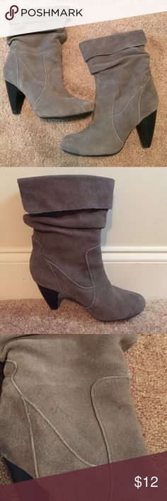 Slouchy Suede Boots Taupe slouchy suede boots perfect for Fall and Winter. A couple minor spots (pictured above) but in great condition. Size 8.5. Bundle 2 or more items and save 15% plus combined shipping! Jullian Shoes Heeled Boots