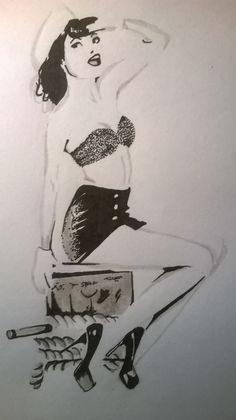 sail pin-up girl drawing