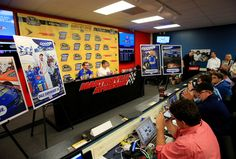 Dale Earnhardt Jr. Photos Photos - Dale Earnhardt Jr. speaks to the media prior to the NASCAR Sprint Cup Series Goody's Fast Relief 500 at Martinsville Speedway on October 30, 2016 in Martinsville, Virginia. - NASCAR Sprint Cup Series Goody's Fast Relief 500