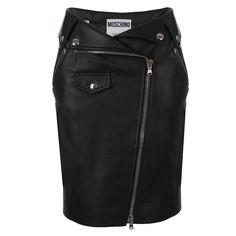 Moschino Biker Skirt (55,565 THB) ❤ liked on Polyvore featuring skirts, mini skirts, zipper skirt, leather zipper skirt, moschino skirt, pocket skirt and short mini skirts