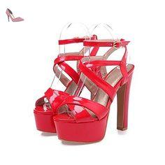pwne Bottes Hiver Mary Jane Talon occasionnels PU Feather rouge US4-4 5 / EU34 / UK2-2 5 / CN33 - Chaussures pwne (*Partner-Link)
