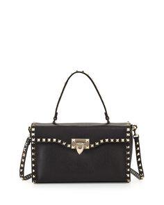 99a7649d13b4f Red Valentino Rockstud Small Single-Handle Satchel Bag