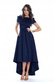 Image of Navy Blue High Low Elegant Gathered Crew Neck Midi Dress Modest Dresses, Pretty Dresses, Elegant Dresses, Tafta Dress, Navy Blue Midi Dress, Blue Maxi, Midi Dresses Online, Dress Online, Plain Dress