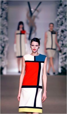 Among his greatest successes was his Mondrian collection of 1965, based on the Dutch artists linear paintings. Photo: Philippe Wojazer/Reuters