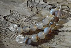 White and Brown Onyx Agate and Sterling Silver Hand-Formed Elliptic Hook Earrings by Adrienne Adelle