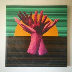 "Gallery: Pop series ""Growing Wildly"" 24 x 24 inch, digital art & gel on canvas. --------------------------------------- #art #artist #popart #popartist #digitalart #contemporary #contrmporaryart #hands #tree #sunset #sunrise #feelgood #love #makelove #sandiego #california  #jonsavagegallery"