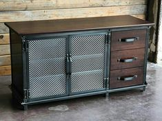 industrial furniture 54 wide x 29 high x 20 deep 3 drawers on right side Solid Hardwood top and drawer faces 2 removable internal shelves Hole in back of cabinet for wiring Aged steel and hardwood Shown in worn oak, mahogany, and walnut