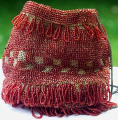 Oxblood Red Beaded Art Deco Flapper Drawstring Reticule Purse by Cousins Antiques a Ruby Lane Shop