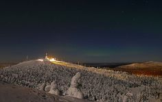Moonlit view at night from the top of the Ruka fells in northern Finland