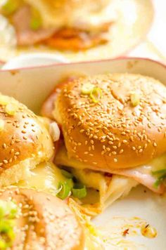 Cheesy and garlic-ky baked ham and cheese sliders with marinara sauce will be a new favorite at your game day parties. Just make sure you make a lot of extras, because this is going to get all eaten up really quickly! If you are like me and love hosting game day parties, then this recipe … Ham Cheese Sliders, Ham And Cheese, Potluck Recipes, Cooking Recipes, Party Recipes, Quick Party Food, Baked Ham, Marinara Sauce, One Pot Meals