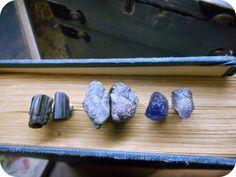 Wholesale Lot Rough Raw Gemstone Earrings. Valhalla Sky Mix # 7 Epidote Crsytal, Emerald and Iolite(Viking Stone) on Titanium posts 3 Pairs
