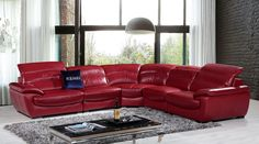 Modern Leather Sectional Sofa furniture in Red - $3833.5 -- Features: L shape, Upholstered In Red Top Grain Leather #sofas #furniture #LAfurniture #sectionalsofa #sectionals #couches #Furnituredesign #HomeDecor #redsofa #leathersofa