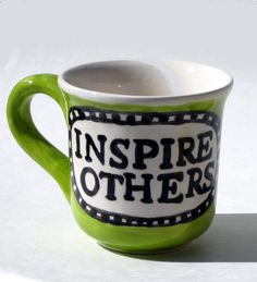 inspire others word mug lime green ceramic pottery by artzfolk, $16.00