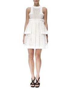 Tiered Laser-Cut Cotton Dress by Alexander McQueen at Neiman Marcus.