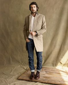 Men's fashion, Jeans, shirt, coat.
