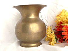 Solid Brass Vase, Large Brass Spittoon, Vintage Decor, Spittoon Shaped Brass Vase, Antique Brass, Vintage Brass, Home Decor, by AgedwithGraceVintage on Etsy