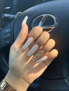 -originalaab - Nails White coffin nails with gold nails designs - Aycrlic Nails, Dope Nails, Manicure, Glitter Nails, Stiletto Nails, Nails On Fleek, Best Acrylic Nails, Acrylic Nail Art, Clear Acrylic