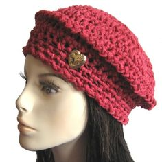 A hat to wear or give for #Valentines_Day! OOAK crocheted with luxuriously soft and warm Merino wool ribbon. A #KnittingGuru Original.