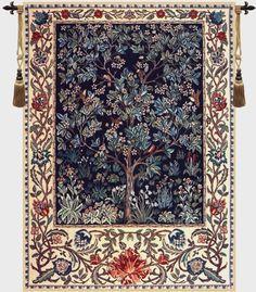 Tree of Life Blue William Morris Belgian Wall Tapestry