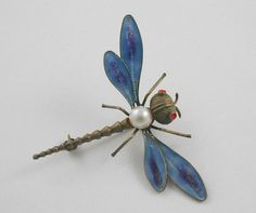 Vintage 800 Silver and Cultured Pearl Dragonfly Pin