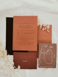 Modern wedding invitation in the terracotta shades by Lise Mailman of Ruban Collectif Minimalist Wedding Invitations, Wedding Party Invites, Pocket Wedding Invitations, Elegant Wedding Invitations, Wedding Invitation Design, Wedding Stationary, Party Invitations, Modern Invitations, Wedding Menu Cards