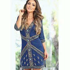 Vestido Anne Fernandes modelo T-shirt Dress Bordado Handmade w/ Blogger Lalá Noleto ♡ Disponível TAM. G    ••》Whatsapp 43 9148-2241  ☎  43 3254-5125.    Rua Rio Grande do Norte, 19 Centro - Cambé-Pr  #dress #euqueroo #fashionistando #carolcamilamodas #details #luxo #vestidodeuso #fashion #unique #handmade #bordados #news #venhaseapaixonar #luxo #glamour #blogger #lalanoleto