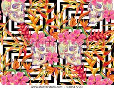 Seamless summer tropical pattern with skulls and exotic flowers vector background. Tropical flowers. Perfect for wallpapers, pattern fills, web page backgrounds, surface textures, textile