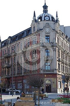 Typical architecture founded in the city of Katowice in Poland. On the main floor of this building is Polish Bank Pekao, Polish universal bank founded in 1929 as a state commercial bank.